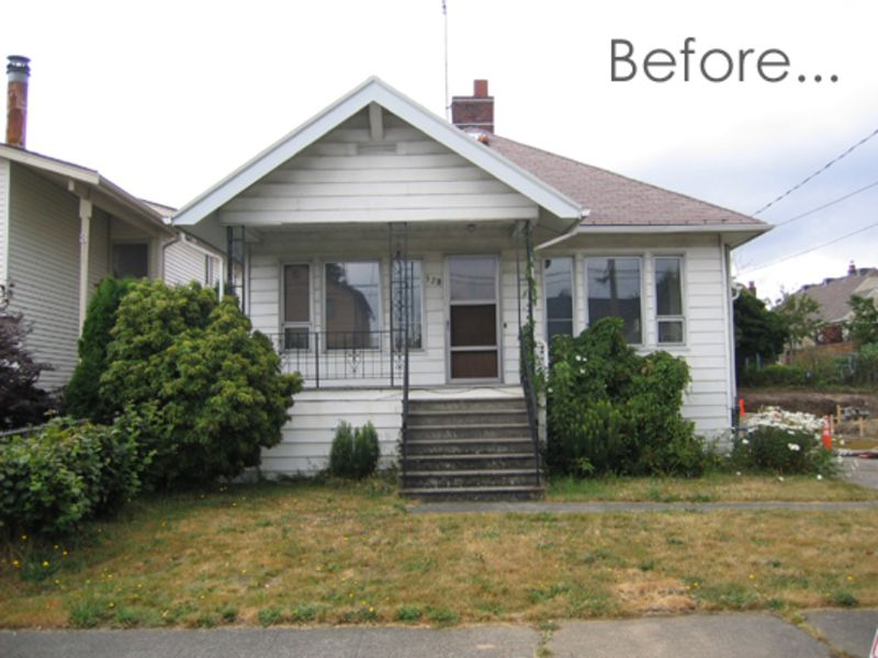 Before after an exterior renovation in seattle apartment therapy for Exterior bungalow renovations before and after