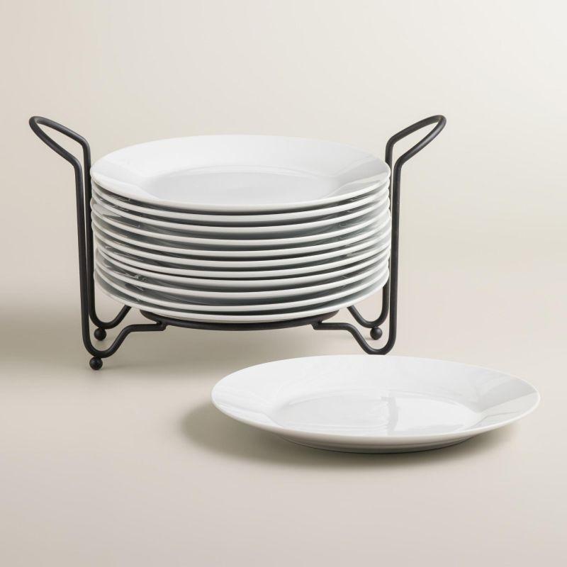 White dinner plates in rack