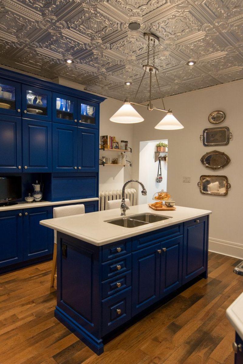 Merveilleux Blue Kitchen With Tin Ceiling