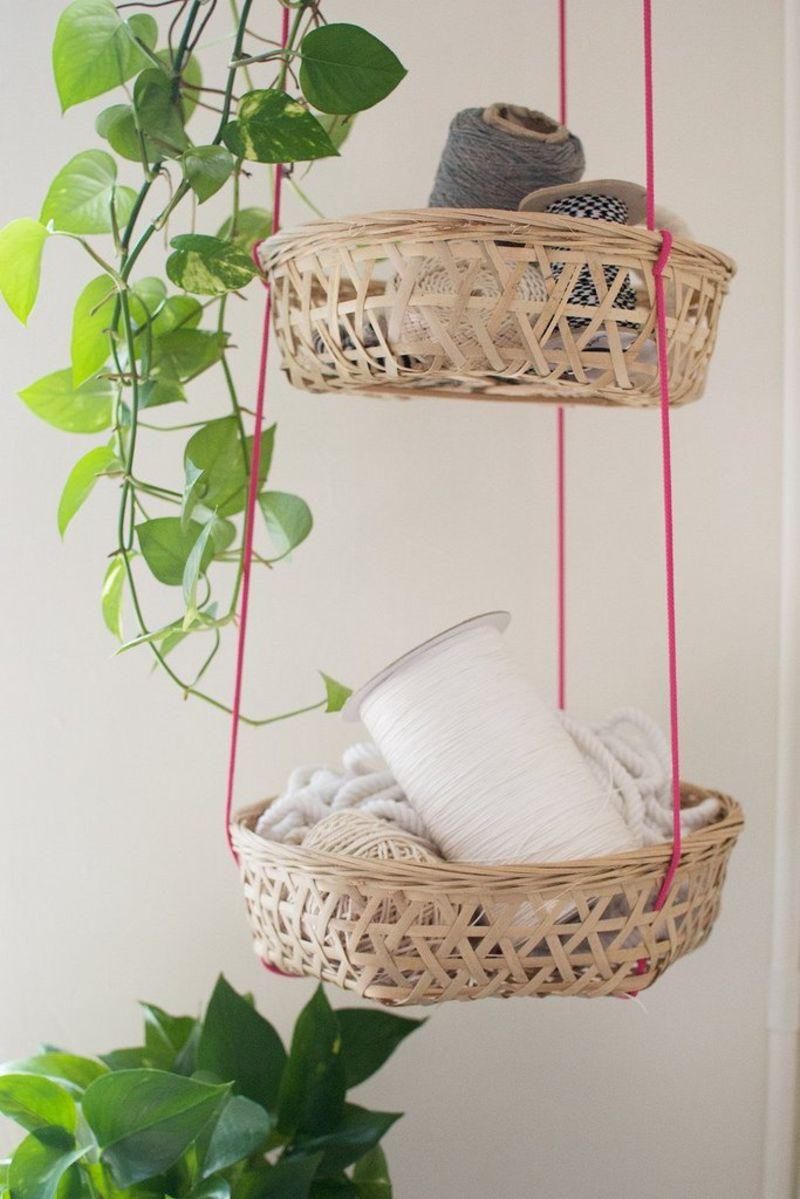 DIY Hanging Tiered Woven Basket Storage Organizer