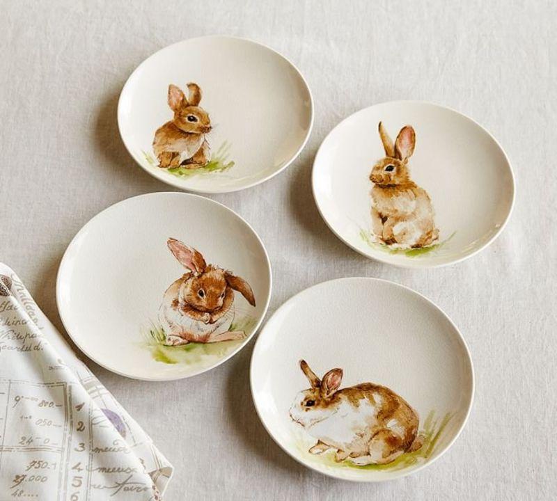 Pasture bunny plates set of 4