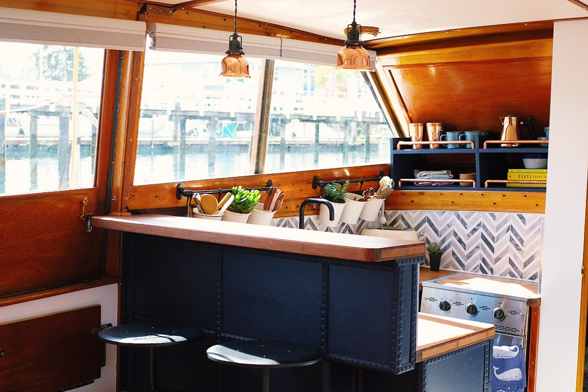 This Houseboat Has One of the Cutest Tiny House Kitchens