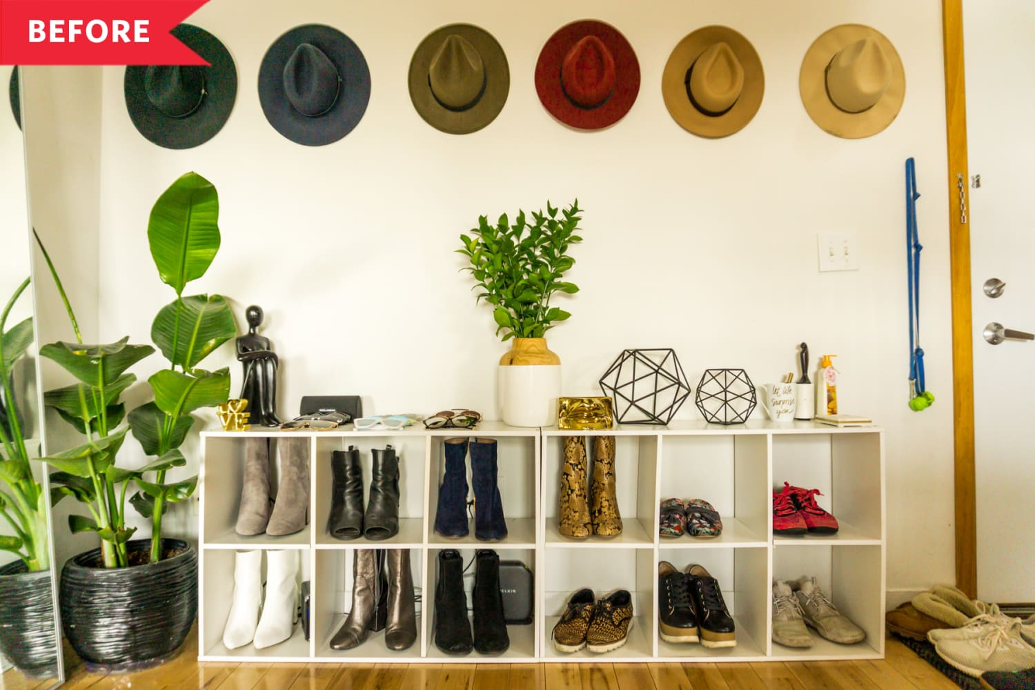 Before and After: A Luxe $300 Redo Transforms These Cheap Cube Shelves