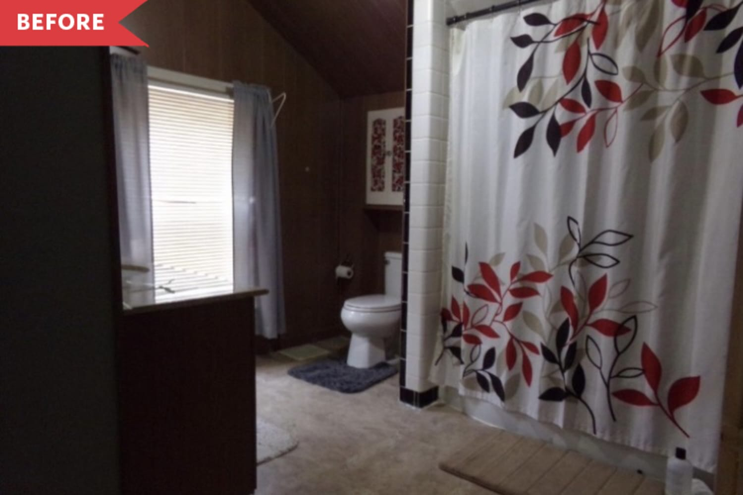 Before and After: A Dark, Wood-Paneled Bathroom Is Completely Transformed for $1,700