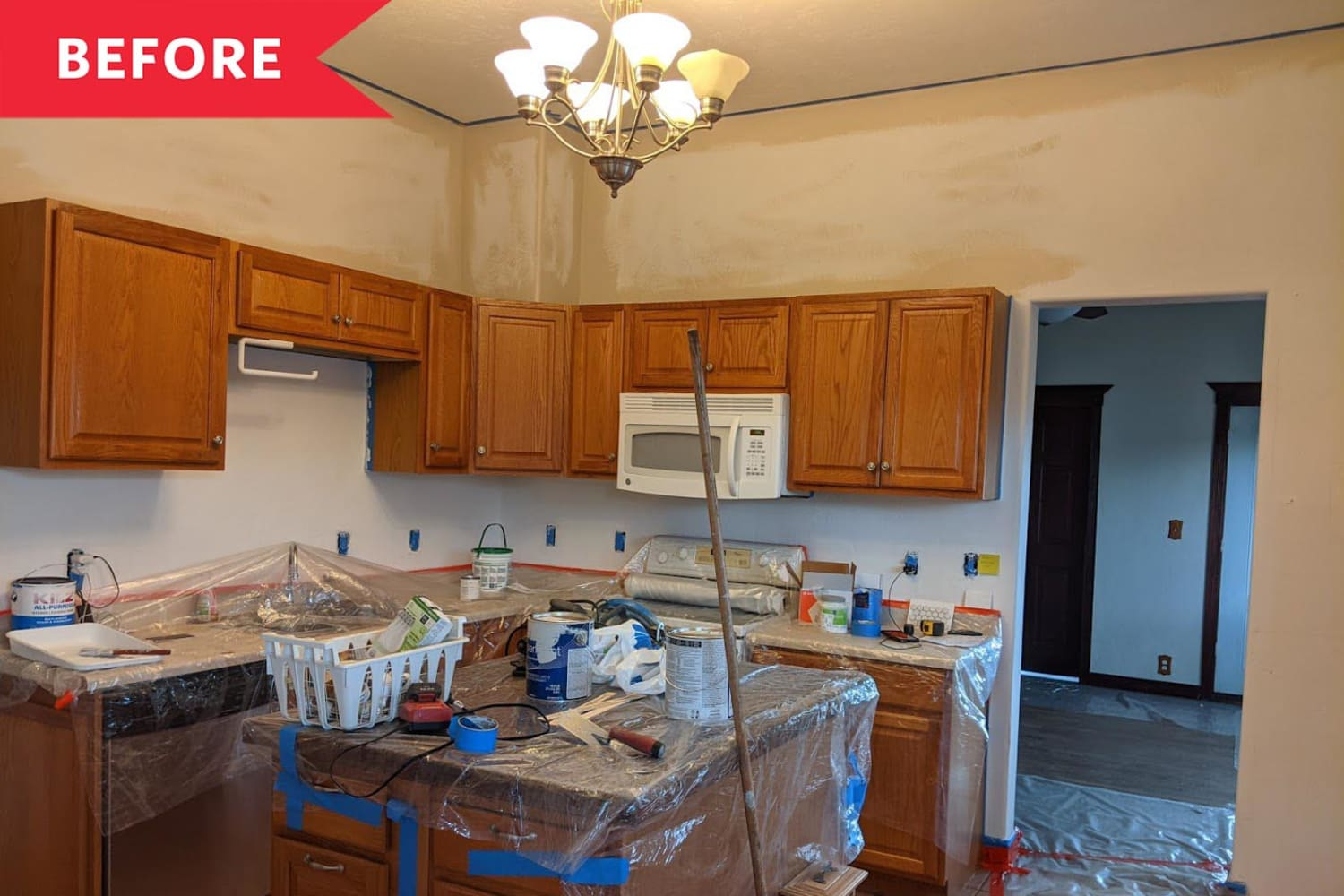Before and After: A Blah Brown Kitchen Transforms with Fresh Paint, Counters, and More