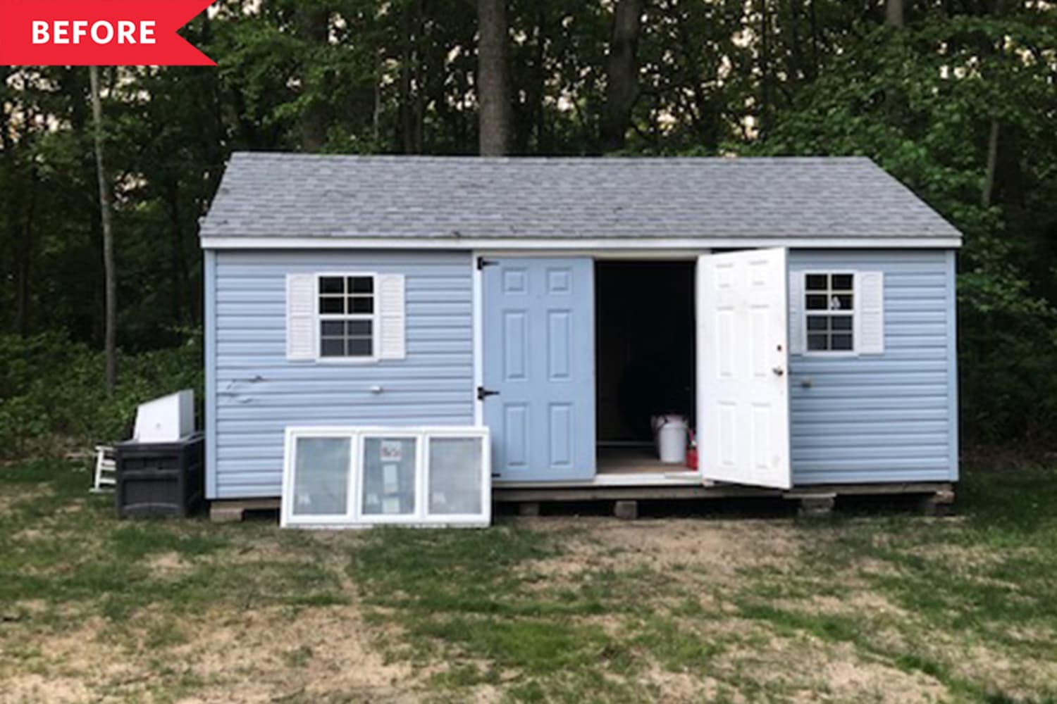 Before and After: An Eyesore Storage Shed Gets a Charming Cottagey Makeover for $250