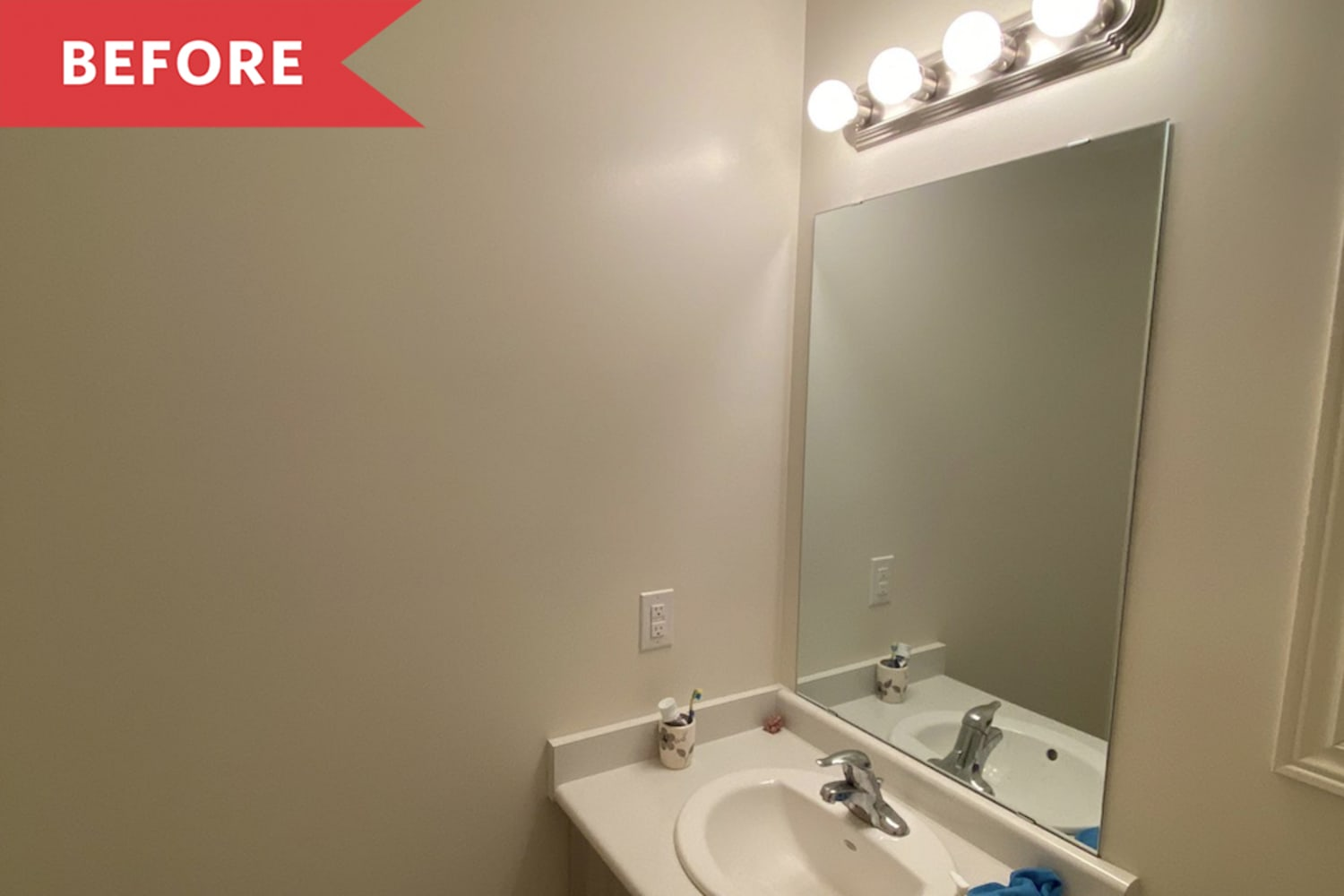 Before and After: A $400 Revamp Turns a Bland Powder Room into a Chic Little Oasis