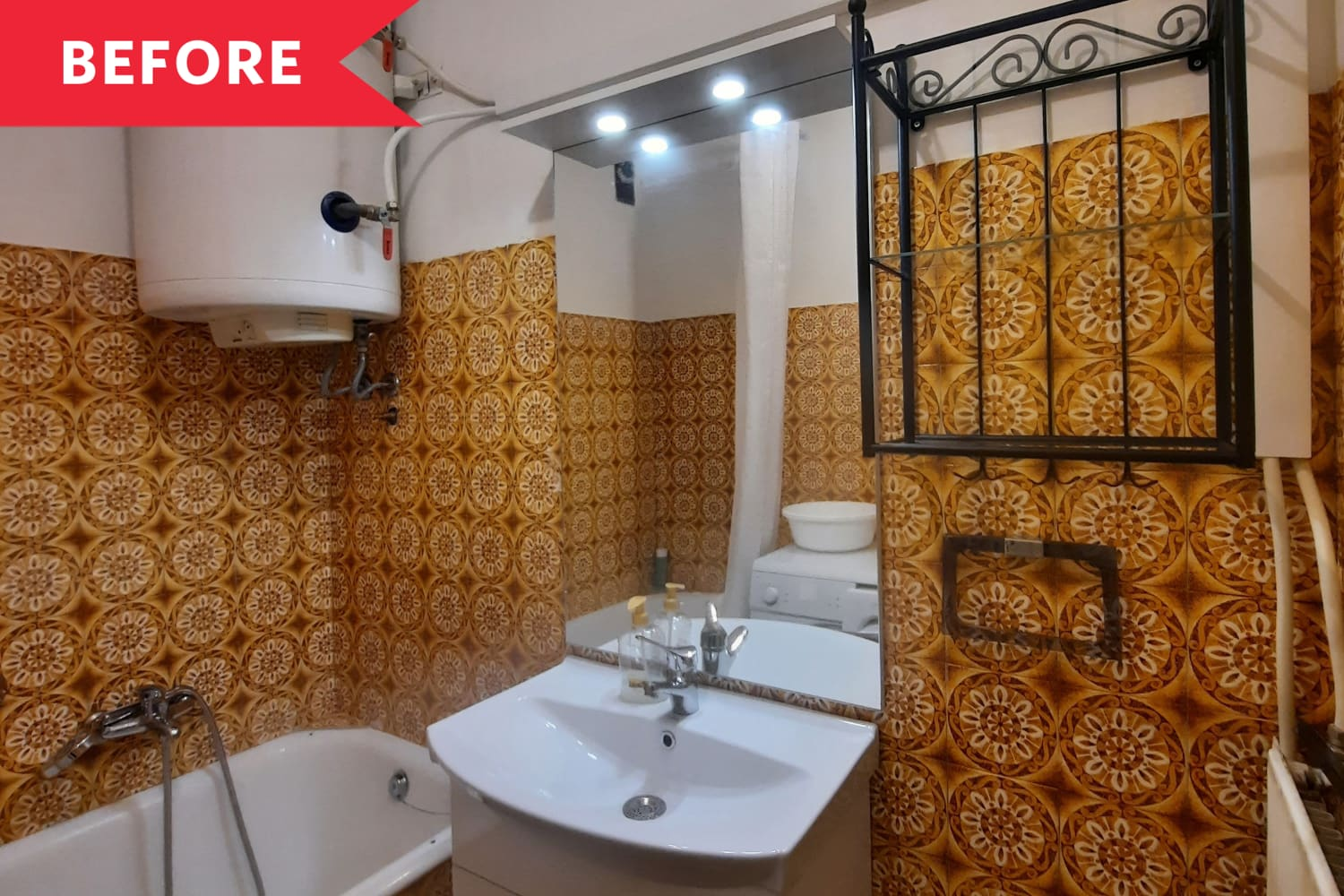 Before and After: A Dirty, Stained Bathroom Gets a Colorful $78 Revamp