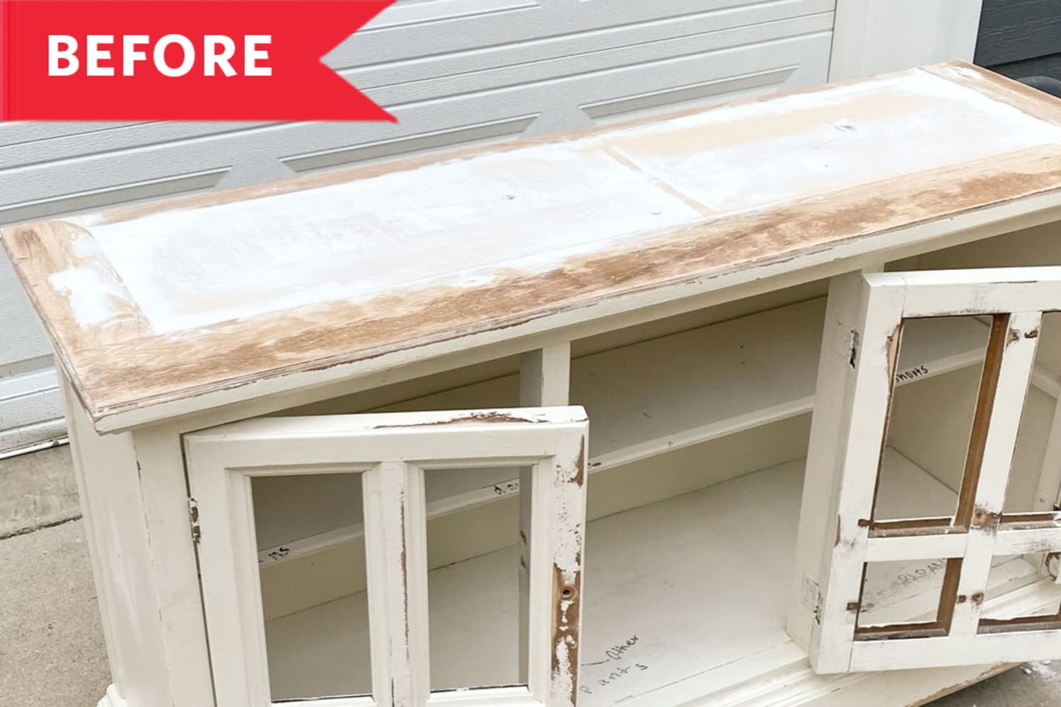 Before and After: An Antique Hutch Becomes Two Brand-New Pieces of Furniture in a Brilliant $100 Redo