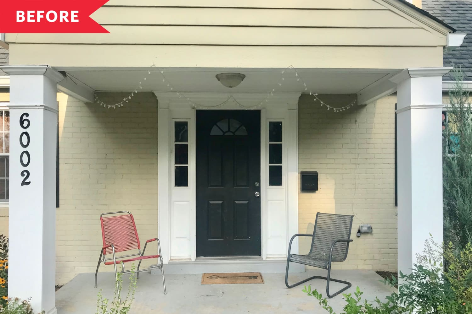 Before and After: A 1940s Front Porch Gets the Perfect Pop of Color in This Sophisticated $1,200 Refresh