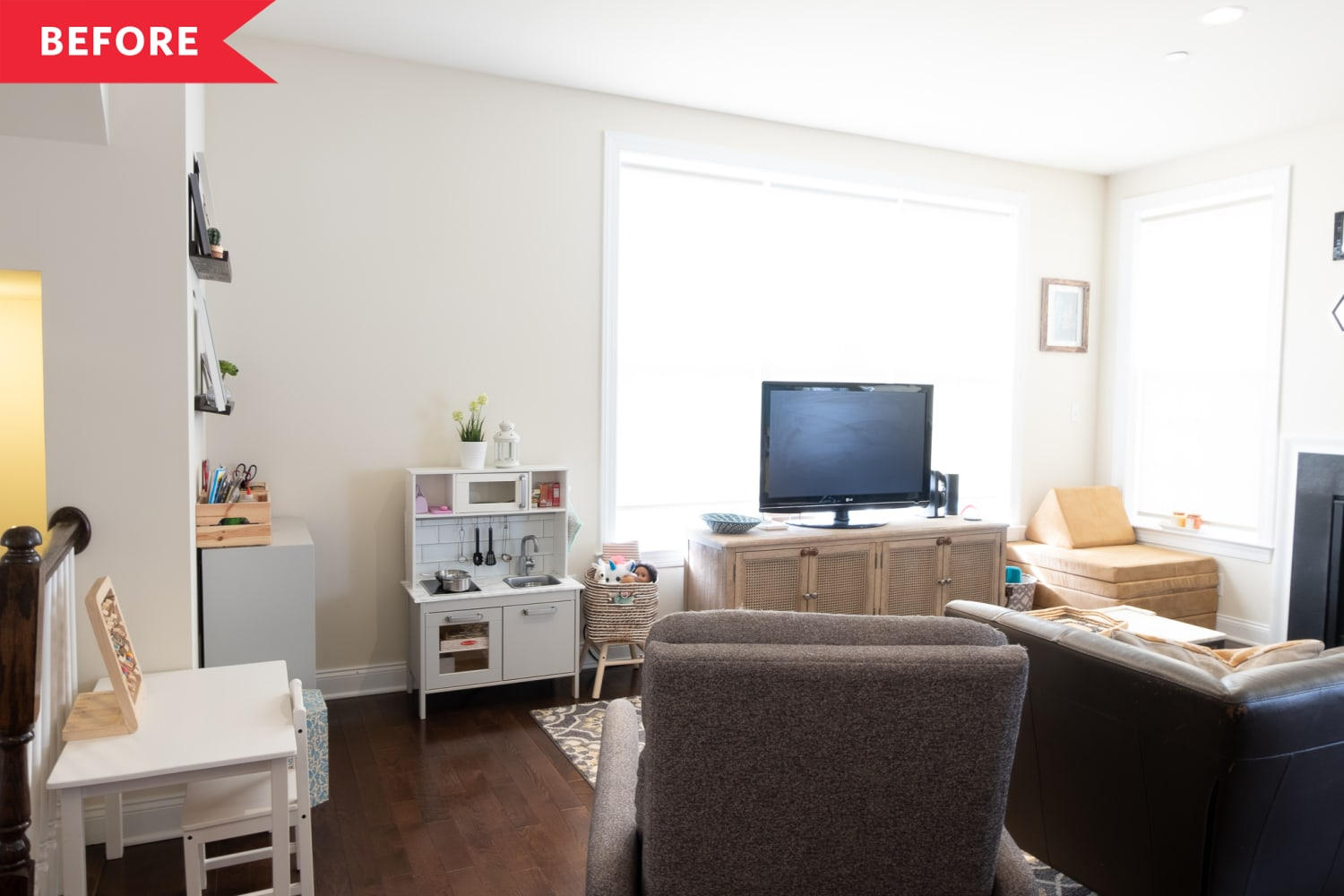Before and After: A $500 Living Room Redo Features a Bold Wall Color and Lots of Cozy Vibes