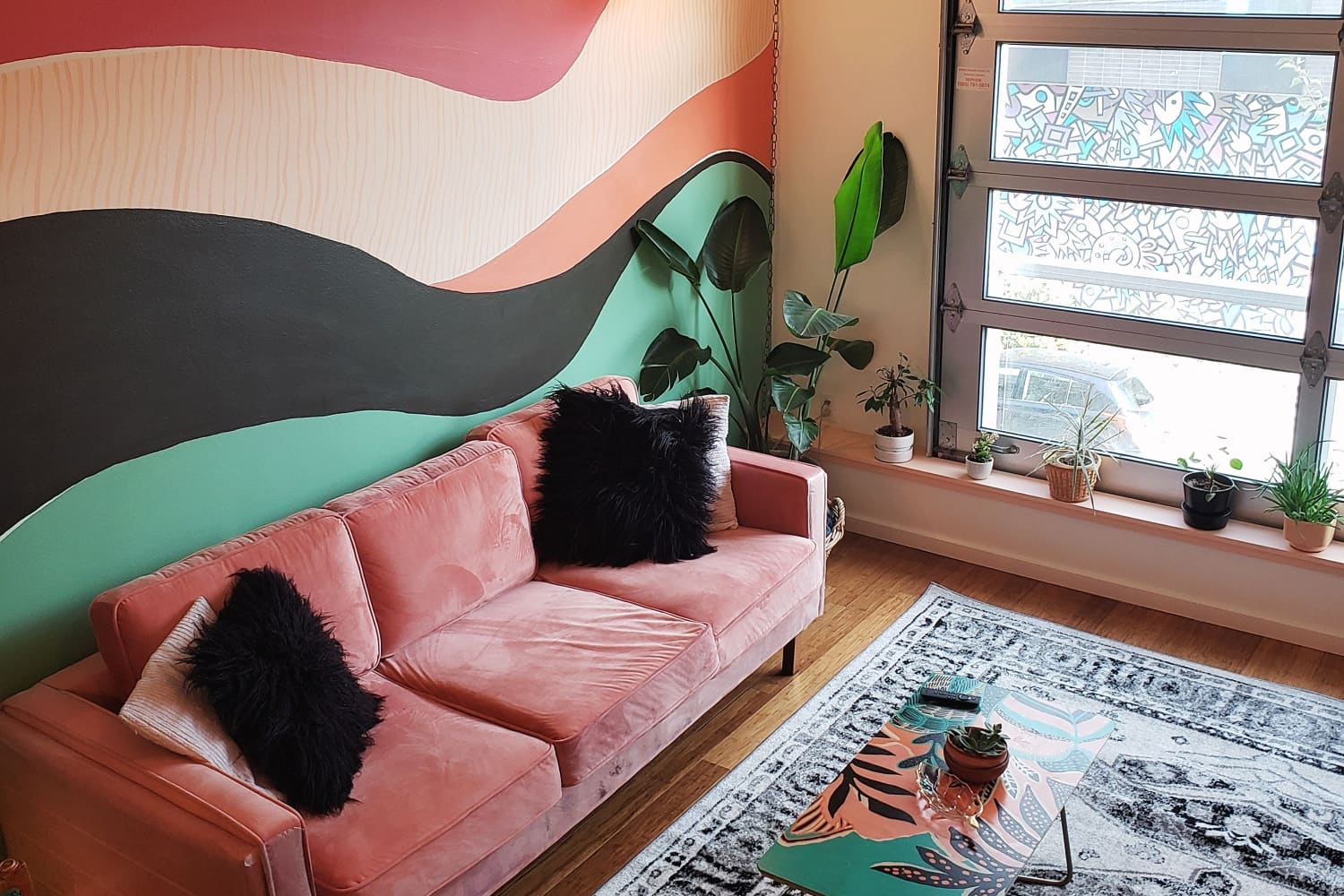 A Colorful Portland Condo Has an Incredible 6′ by 6′ DIY Plant Wall