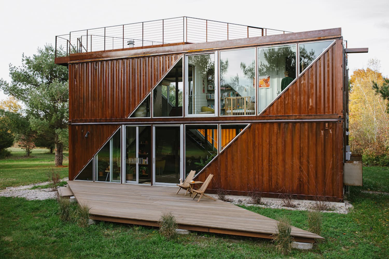 Inside a Whimsical Two-Story Home Built From Shipping Containers