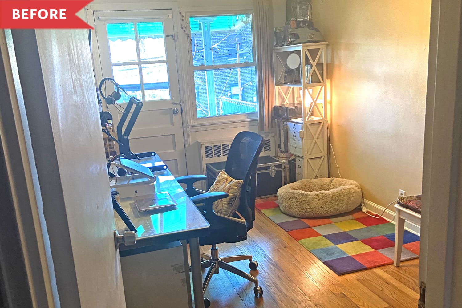 Before and After: Interior Designer Mikel Welch Turned This Cluttered Office Into a Cozy Hangout