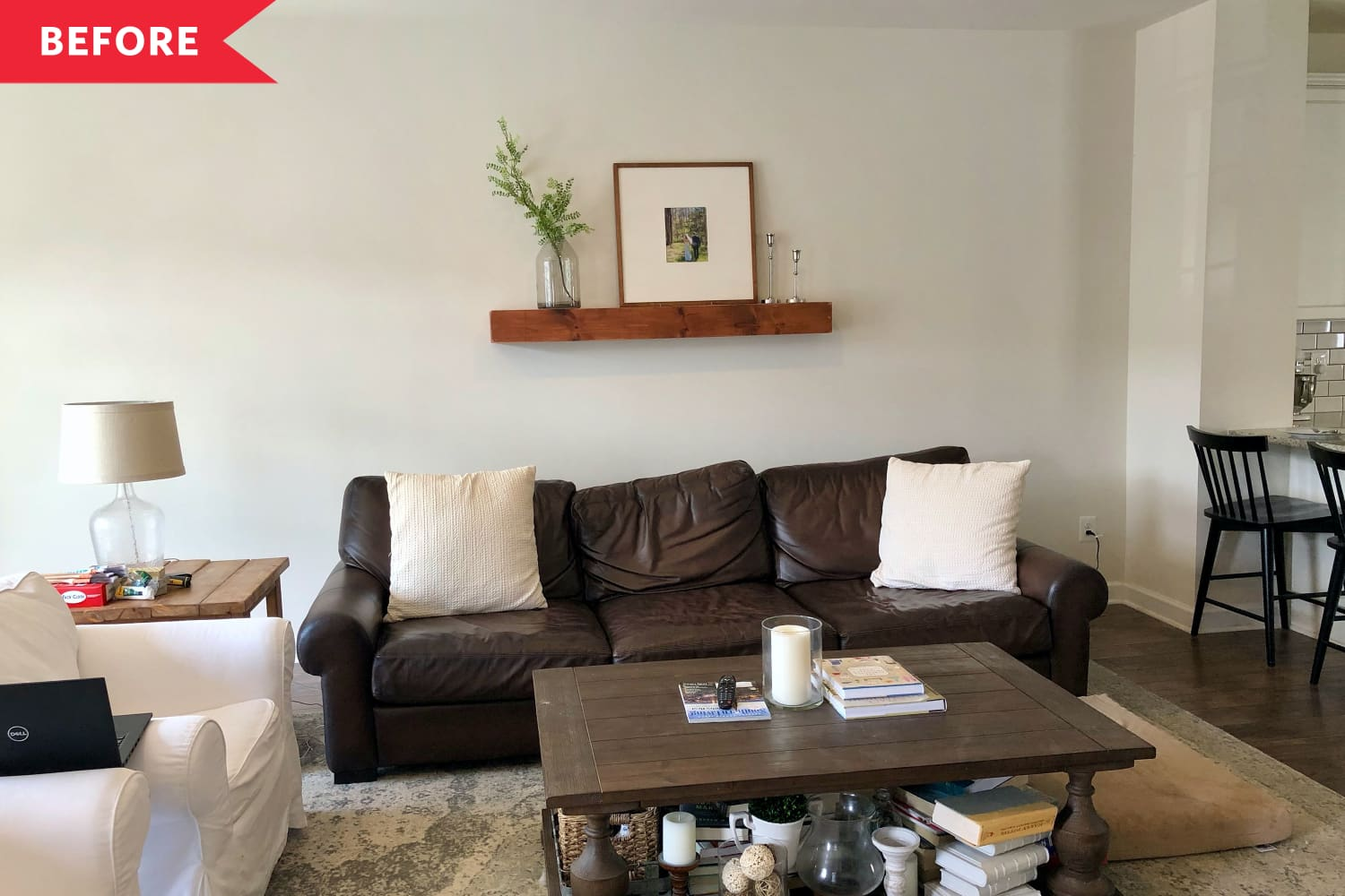 Before and After: A Standard Issue Space Becomes a Charming Living Room With Beautiful Built-Ins