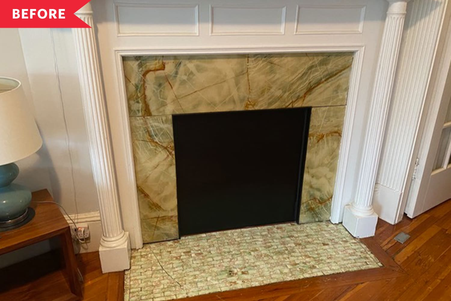 """Before and After: A Living Room Fireplace Goes from """"Pukey"""" to Super Luxe With Amazon Items"""