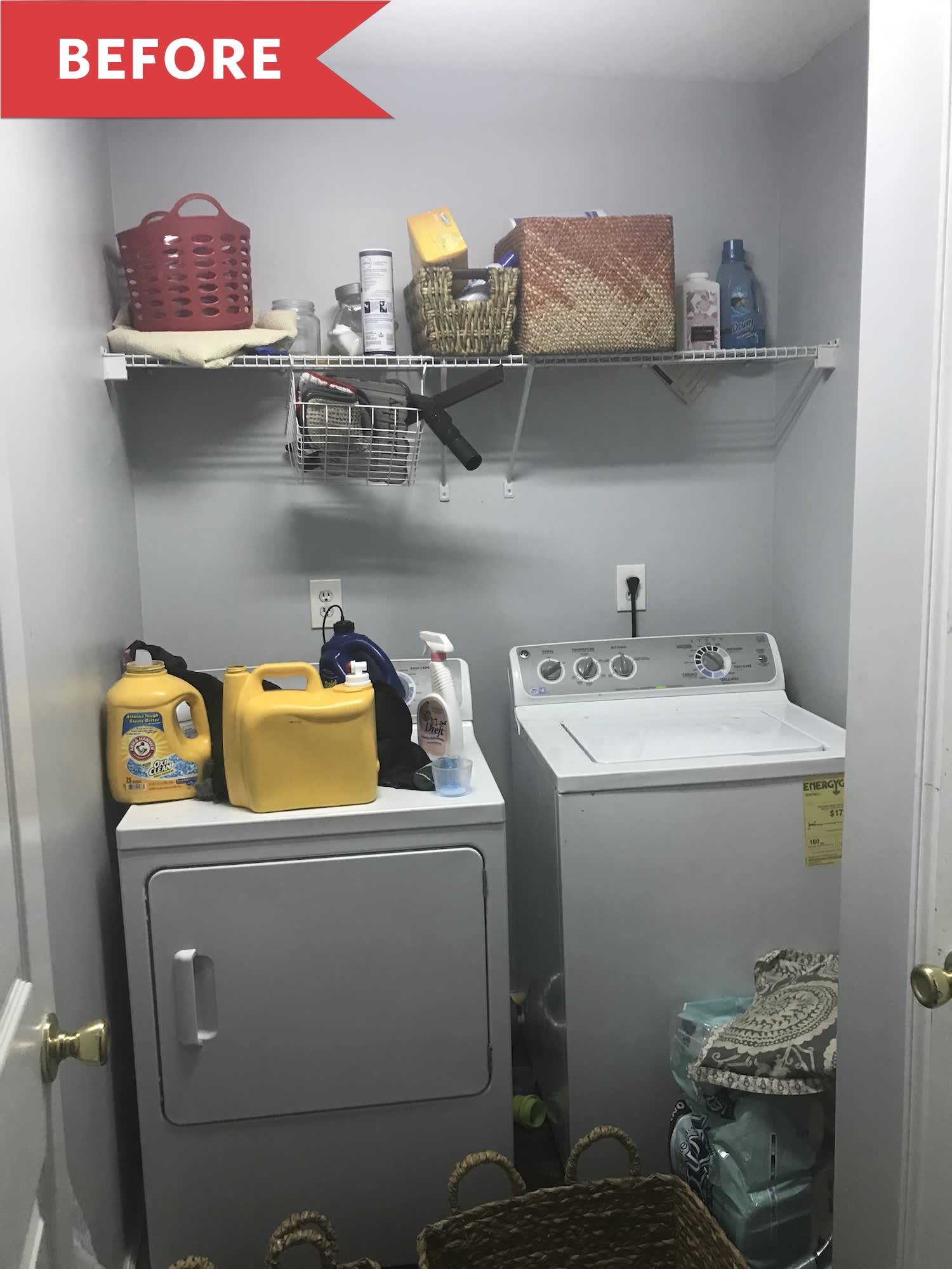 Before and After: This Blah Laundry Room Perks up with Custom Built-ins and More
