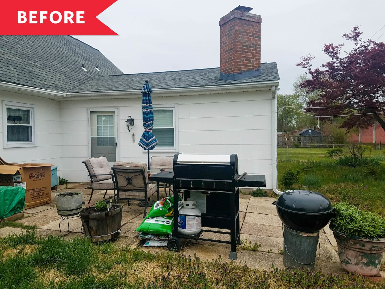 "Before and After: A ""Daunting"" Patio Becomes a Peaceful, Pergola-Shaded Escape"
