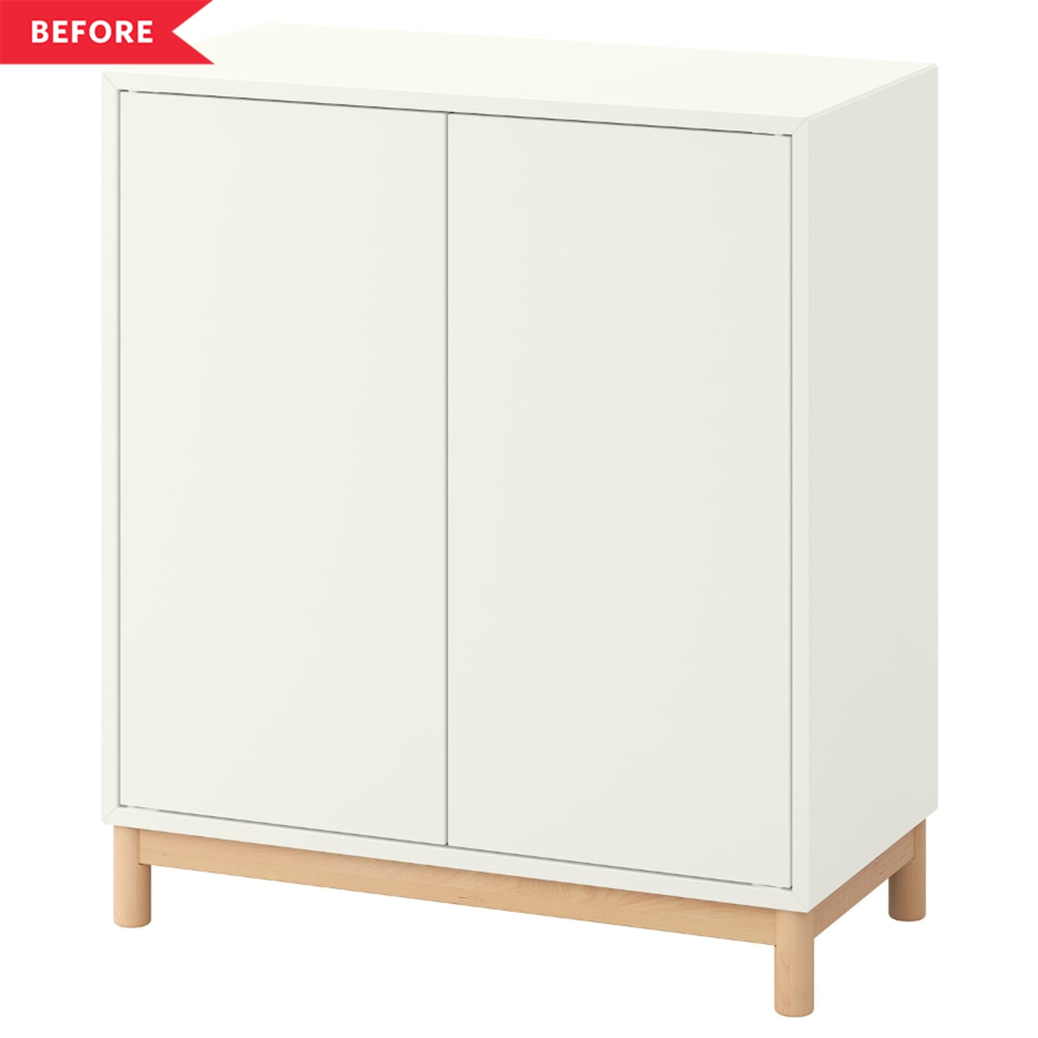 Before & After: A Dollar Store Item Turns This Plain IKEA Cabinet into a Piece of Art