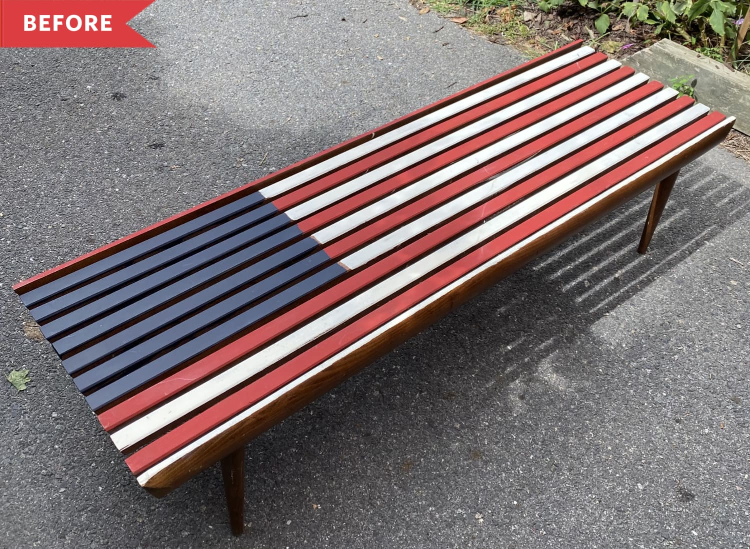 Before and After: A Stylish Make-Under for This Authentic Mid-Century Bench