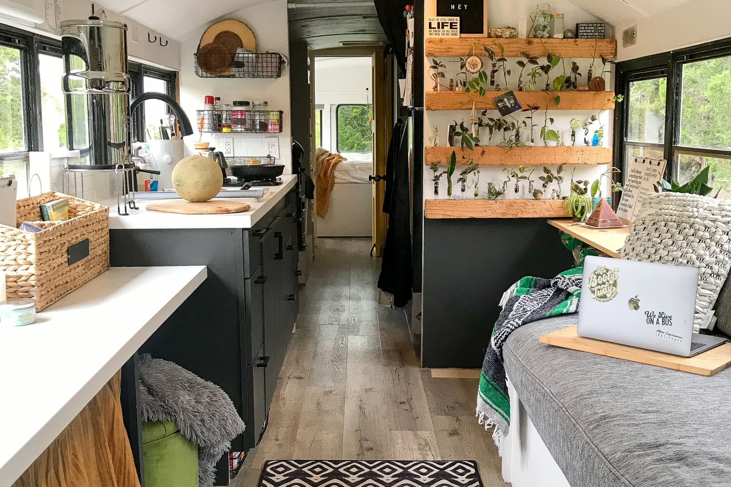 This Family of 4 Lives in a 234-Square-Foot Converted School Bus Home on Wheels