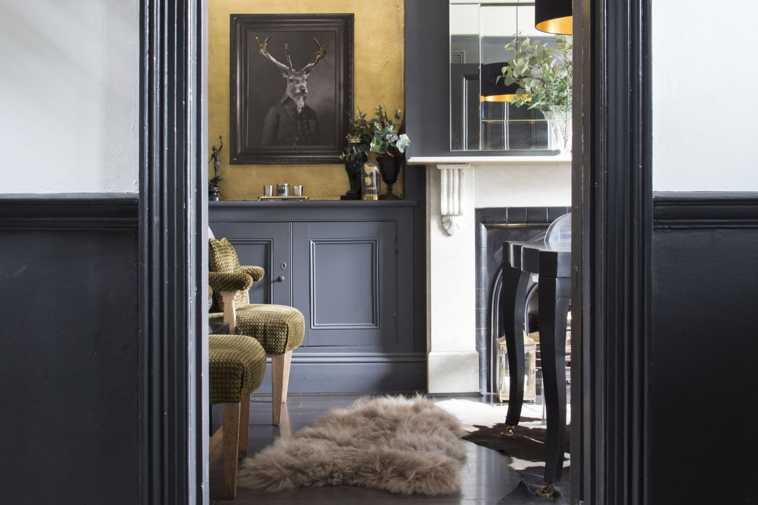 This Dark and Daring UK Home Has a DIY Gilded Staircase
