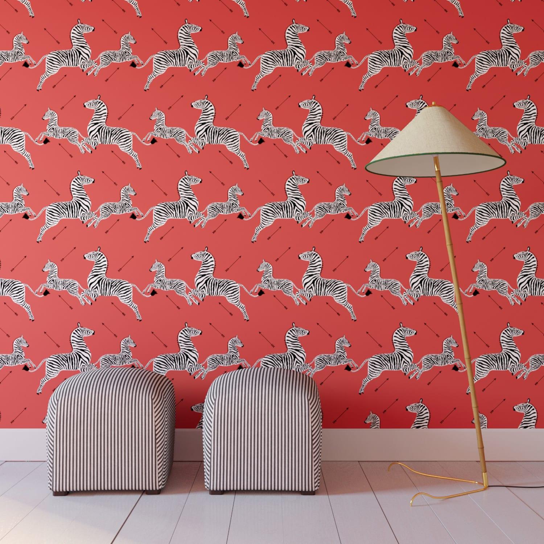 Scandinavian Living Room Design: Royal Tenenbaums Zebra Wallpaper Peel-and-Stick