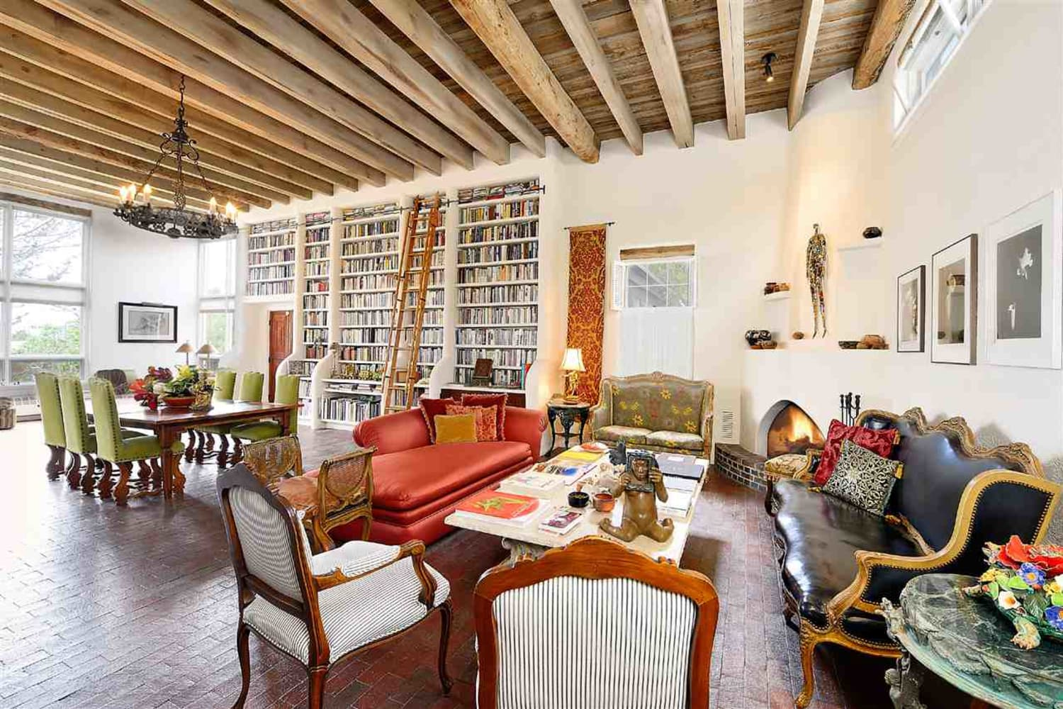 This Santa Fe Pueblo Dwelling for Sale Has the Loveliest In-Home Library