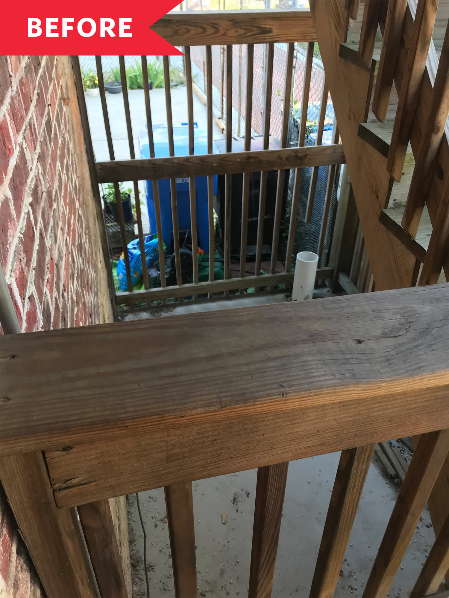 Before and After: A DIYer Turns a Spot Under a Staircase into a Tiny Outdoor Oasis for $100