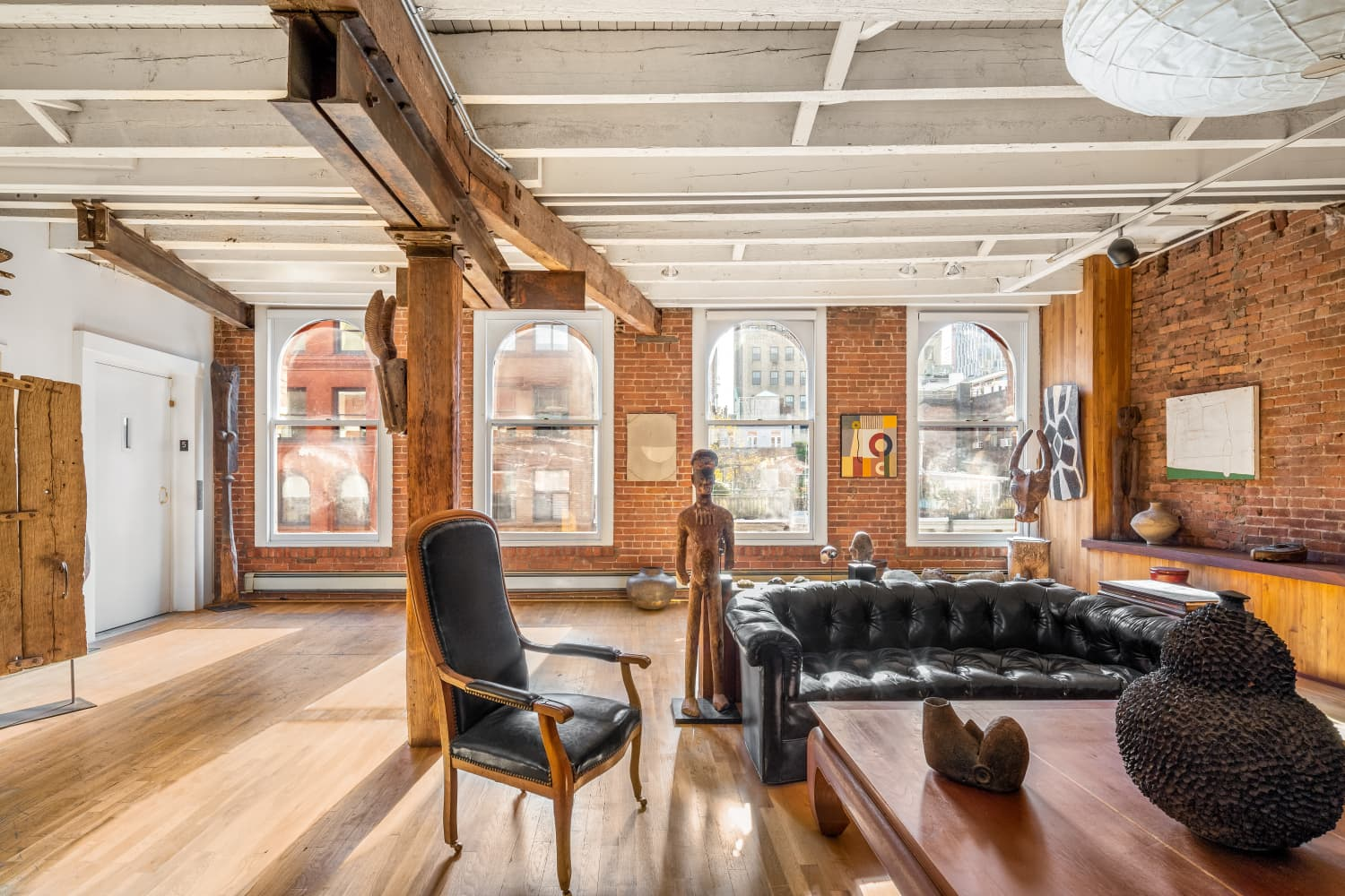 This Famous Playwright's NYC Loft Is an Exposed Brick Oasis