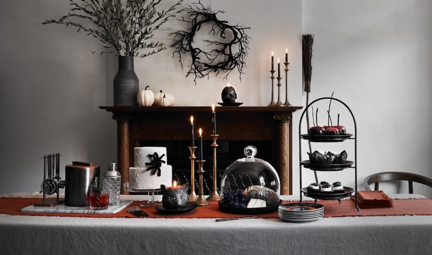 Crate & Barrel's Gothic Halloween Collection Includes Skull Candles and Witches' Brooms