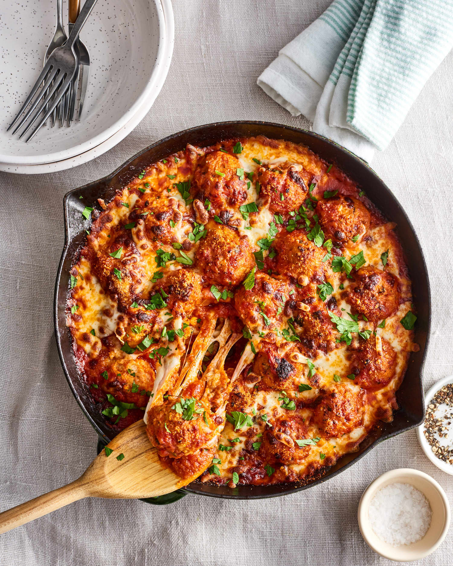 Skillet Chicken Parmesan Meatballs Kitchn