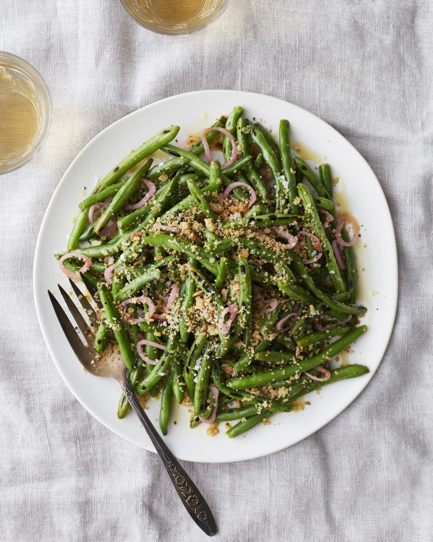 Blistered Green Beans With Pickled Shallots And Toasted