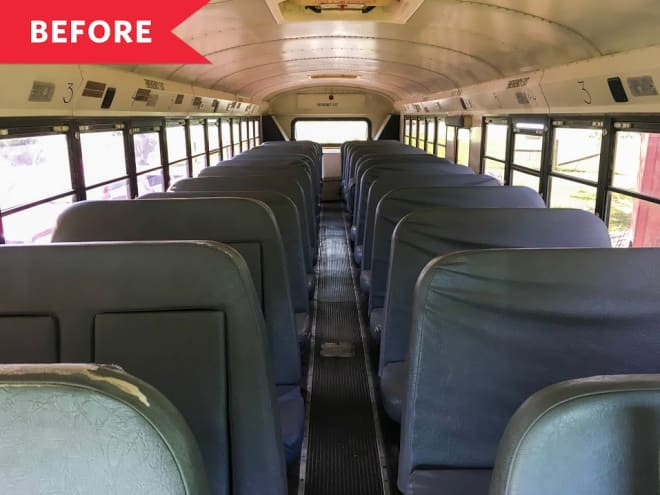 Before and After: A Standard School Bus Gets a Stylish New Life as a Tiny Home on Wheels