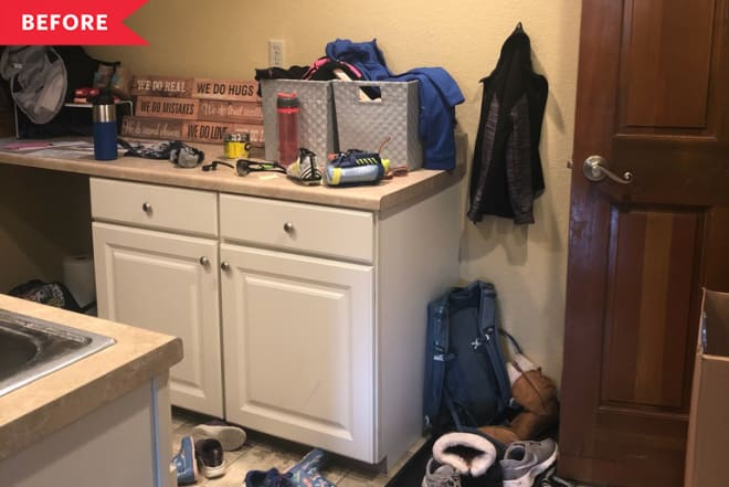 Before and After: This $1200 Entry/Laundry Room Is Organization Goals