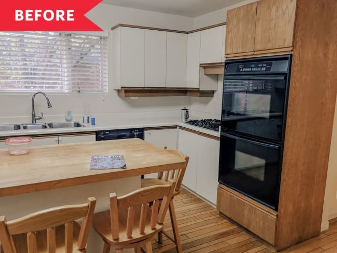 Before and After: Paint and Hardware Make These Kitchen Cabinets Look Brand New