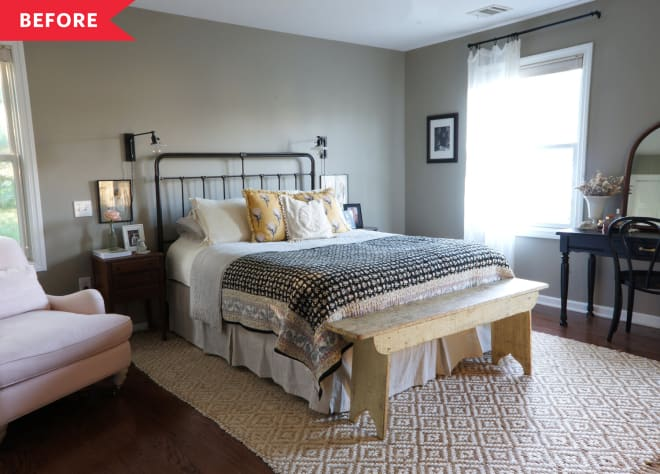Before and After: A Serene Bedroom Full of Vintage Finds for Just $350