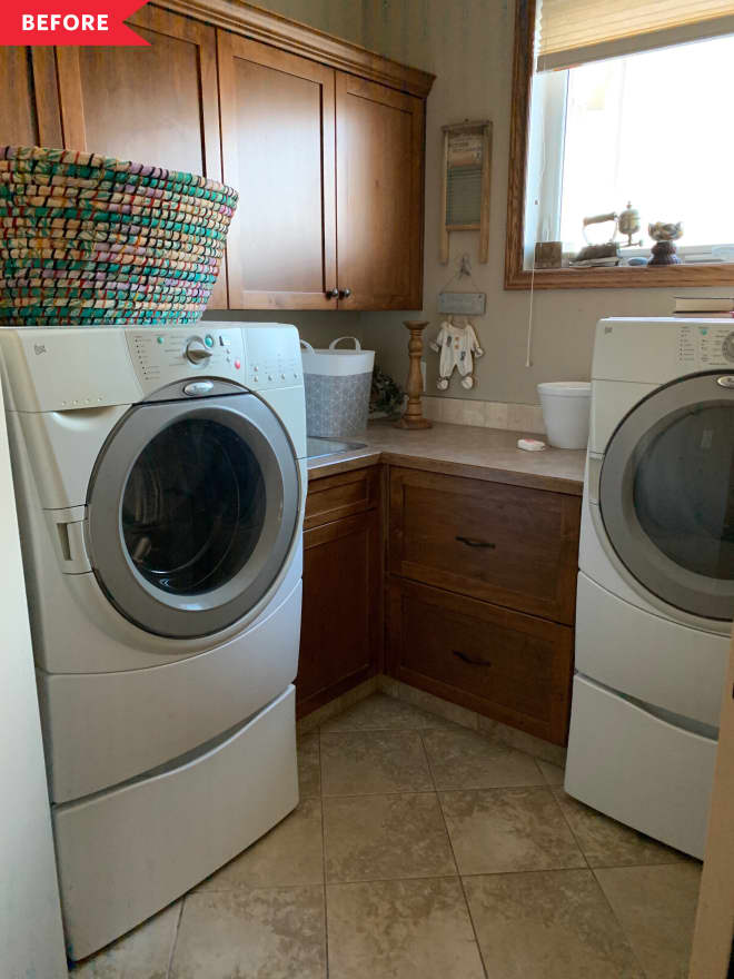 Before and After: A Cheery $300 Paint-and-Paper Laundry Room Refresh