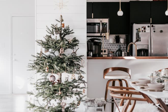 A Renovated Condo Features the Perfect Mix of Scandi Boho Christmas Decor