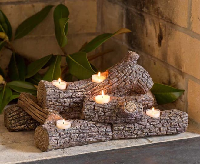This Log-Shaped Candle Holder Will Make Your Apartment Unbelievably Cozy