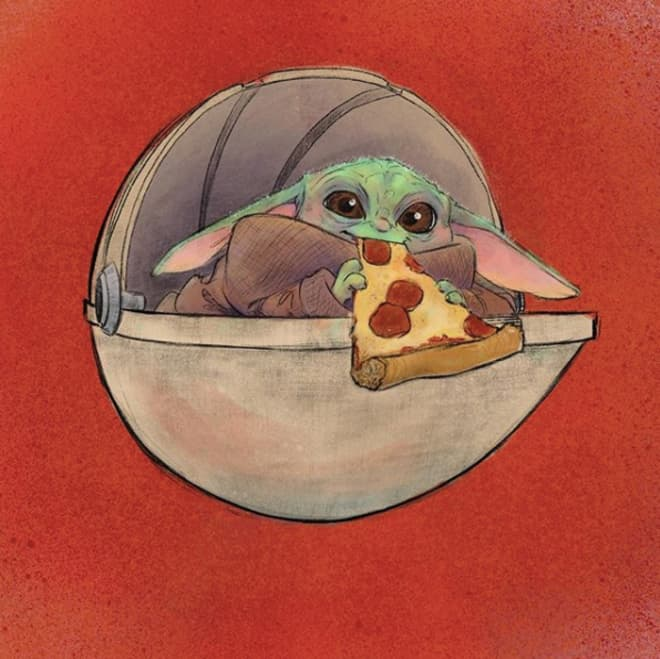 Baby Yoda Eats His Way Through Disneyland in This Series of Drawings