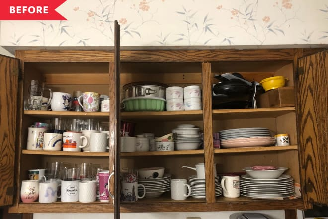 Before and After: I Organized My Parents' Cluttered Kitchen Cabinets and the Results Are So Soothing