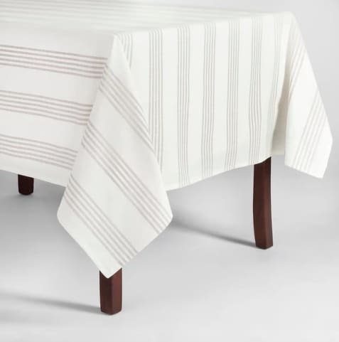 Gray Stripe Tablecloth, from Target