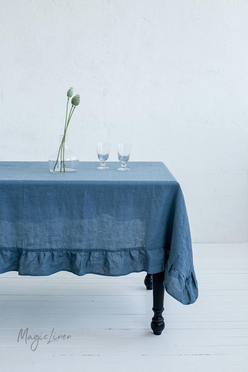 Ruffled Linen Tablecloth, from Etsy
