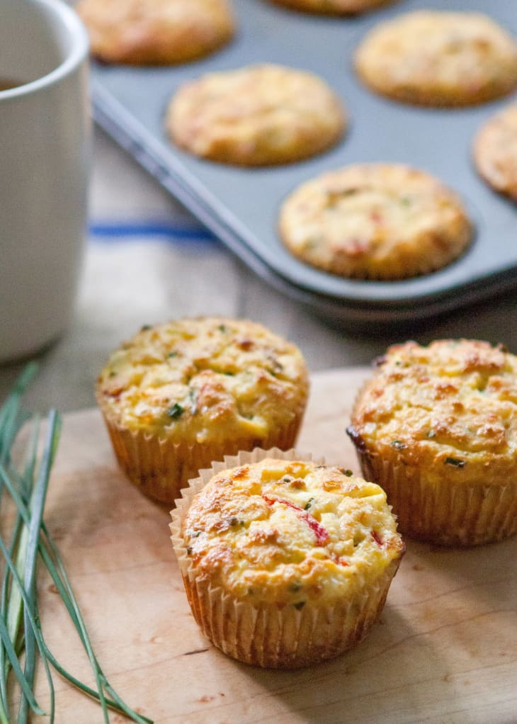 Cottage Cheese Muffins With Roasted Red Peppers and Feta