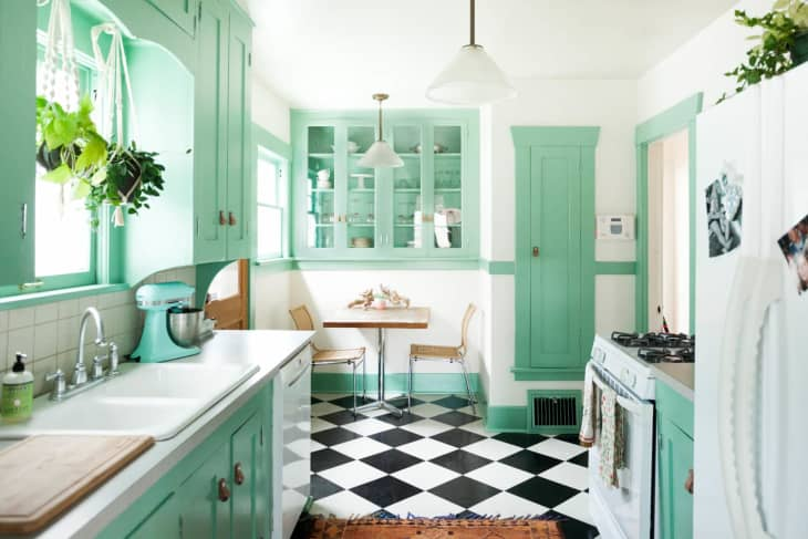 Mint Green kitchen color and cabinets idea