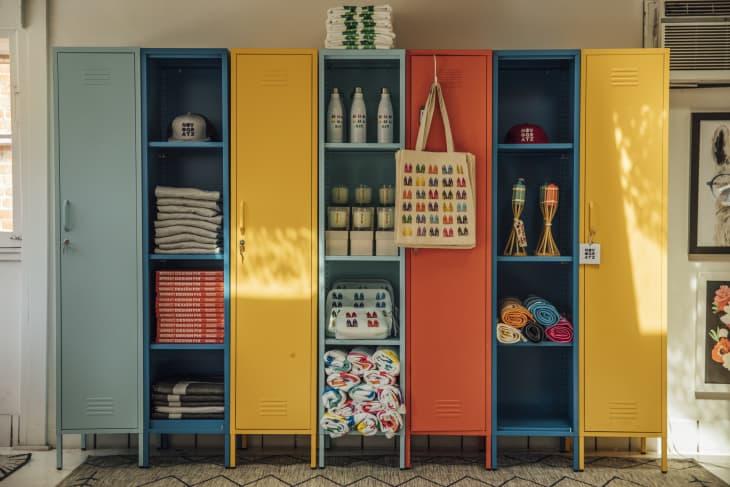 colorful locker-style storage
