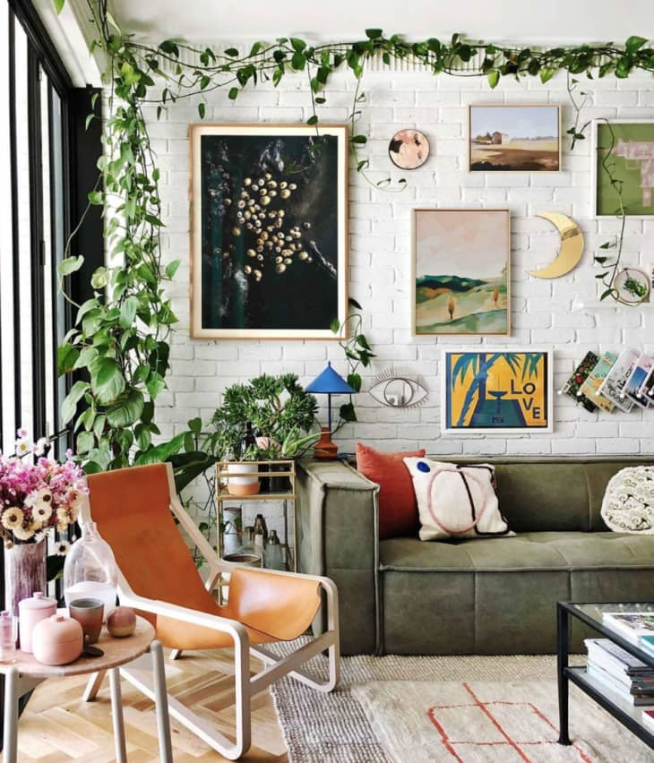 Home with living border and wallpaper made out of plants