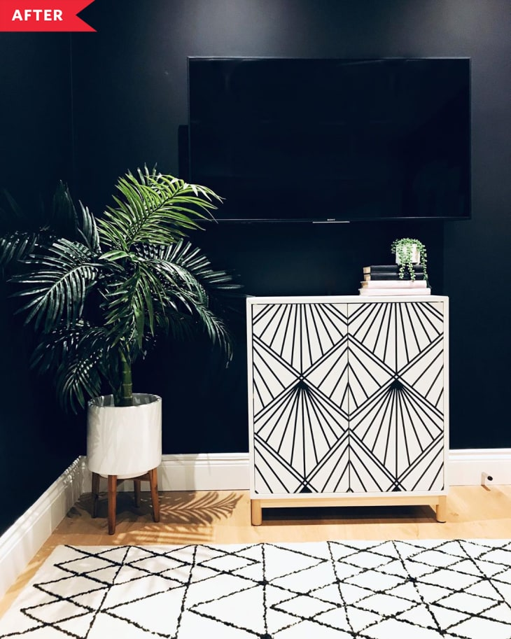DIY patterned cabinet (black and white geometric)