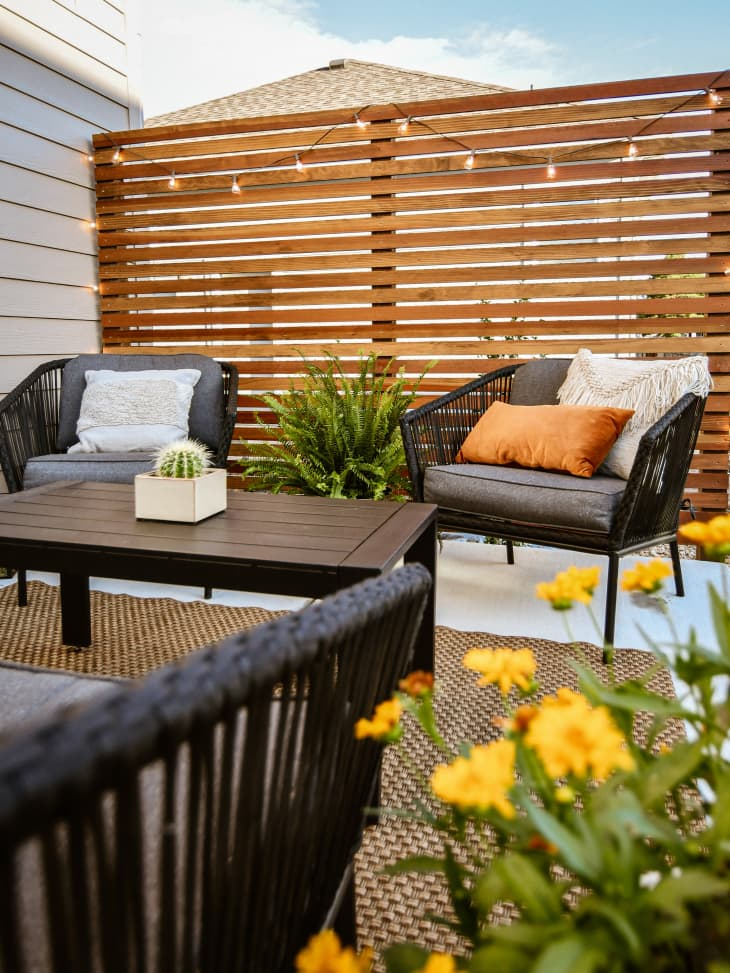 Inviting patio with plants and string lights